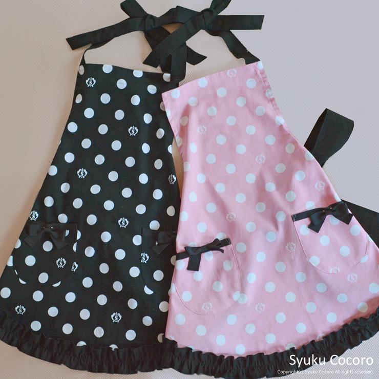 ピンク/ホワイト水玉スリムエプロン【シュクココロ ロゴ入り】