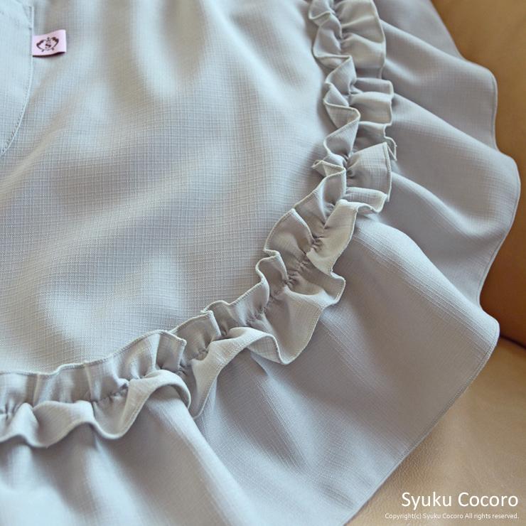 シルバーグレー/ホワイト胸元ハートフリルエプロンドレス(ギャザーフリル)