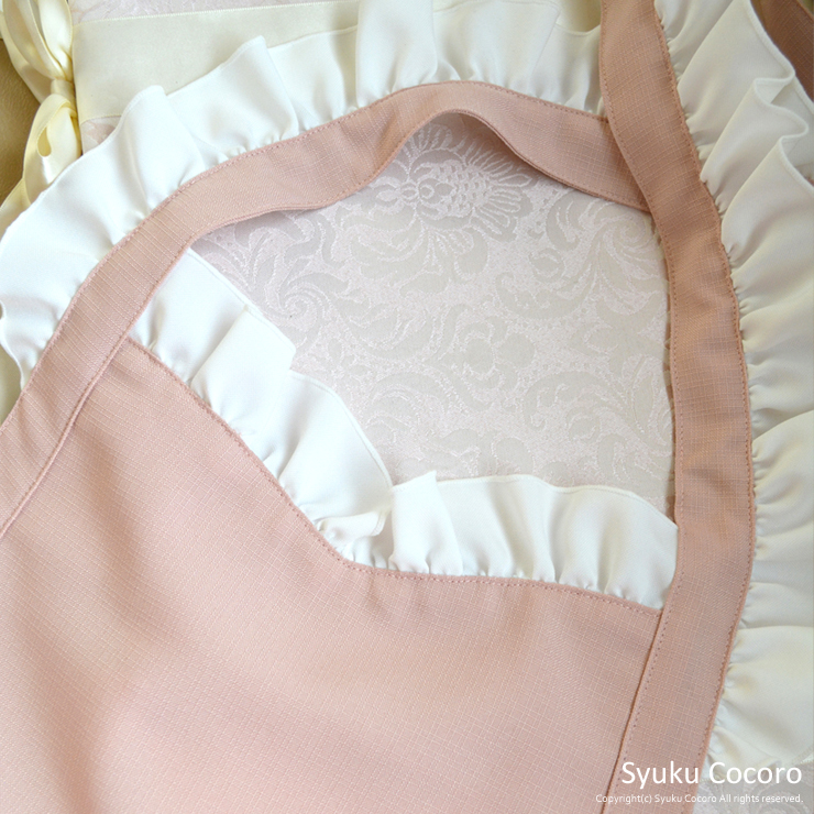 クラシカルピンク/ホワイト胸元ハートフリルエプロンドレス(胸元、肩フリル)
