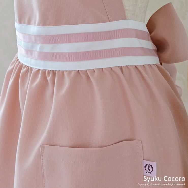 クラシカルピンク/ホワイト胸元ハートフリルエプロンドレス(ウエストライン)