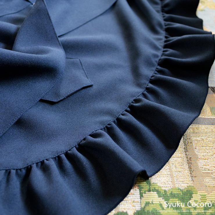 ネイビー/マチュア胸元フリル エプロンドレス(シュシュ付き)ポリエステル100%